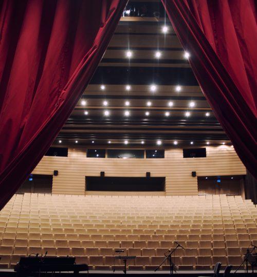 Concert hall with curtain,empyt hall
